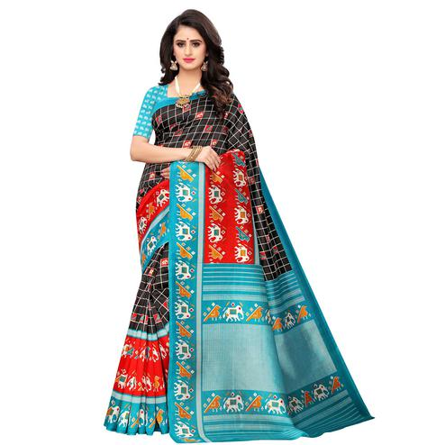 Graceful Black Colored Casual Wear Printed Art Silk Saree