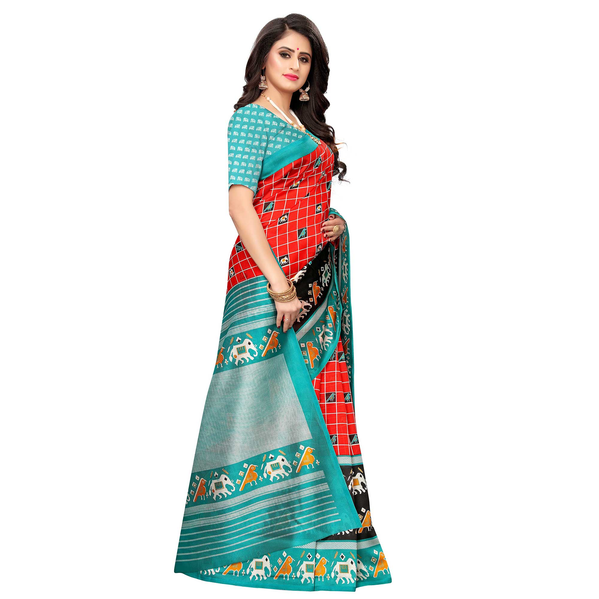 Blooming Red Colored Casual Wear Printed Art Silk Saree