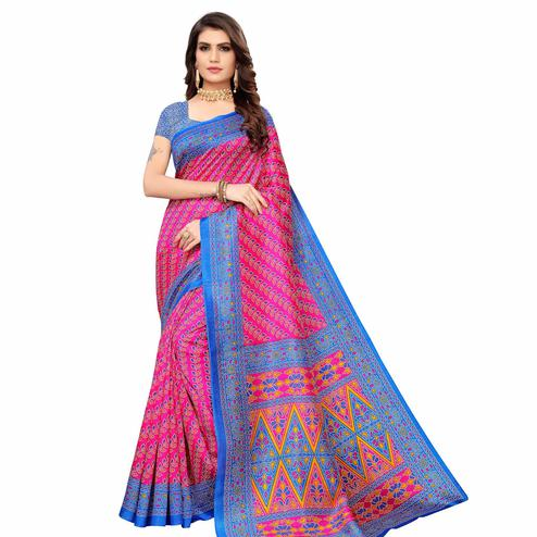 Intricate Pink Colored Casual Wear Printed Zoya Silk Saree