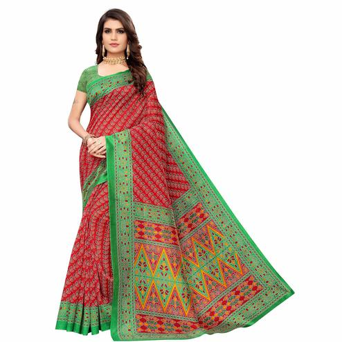 Arresting Red Colored Casual Wear Printed Zoya Silk Saree