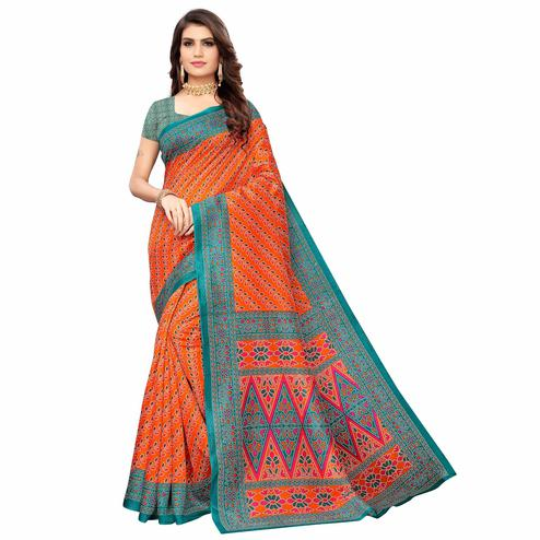 Desirable Orange Colored Casual Wear Printed Zoya Silk Saree