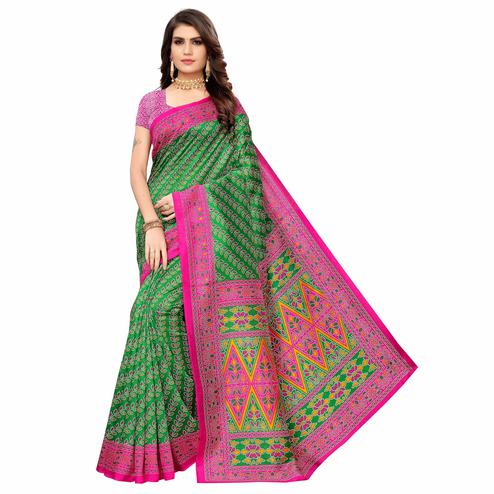 Exotic Green Colored Casual Wear Printed Zoya Silk Saree