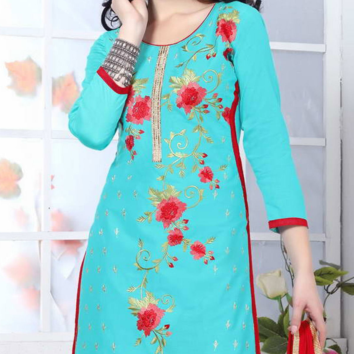 Aqua Blue Cotton Dress Material
