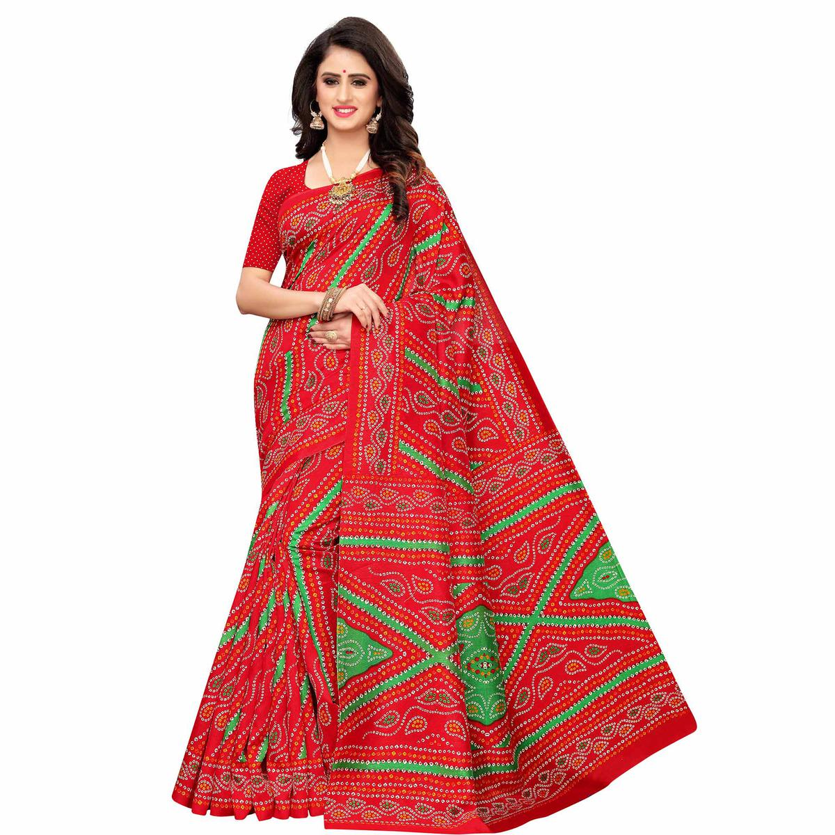 Trendy Red Colored Casual Wear Printed Zoya Silk Saree