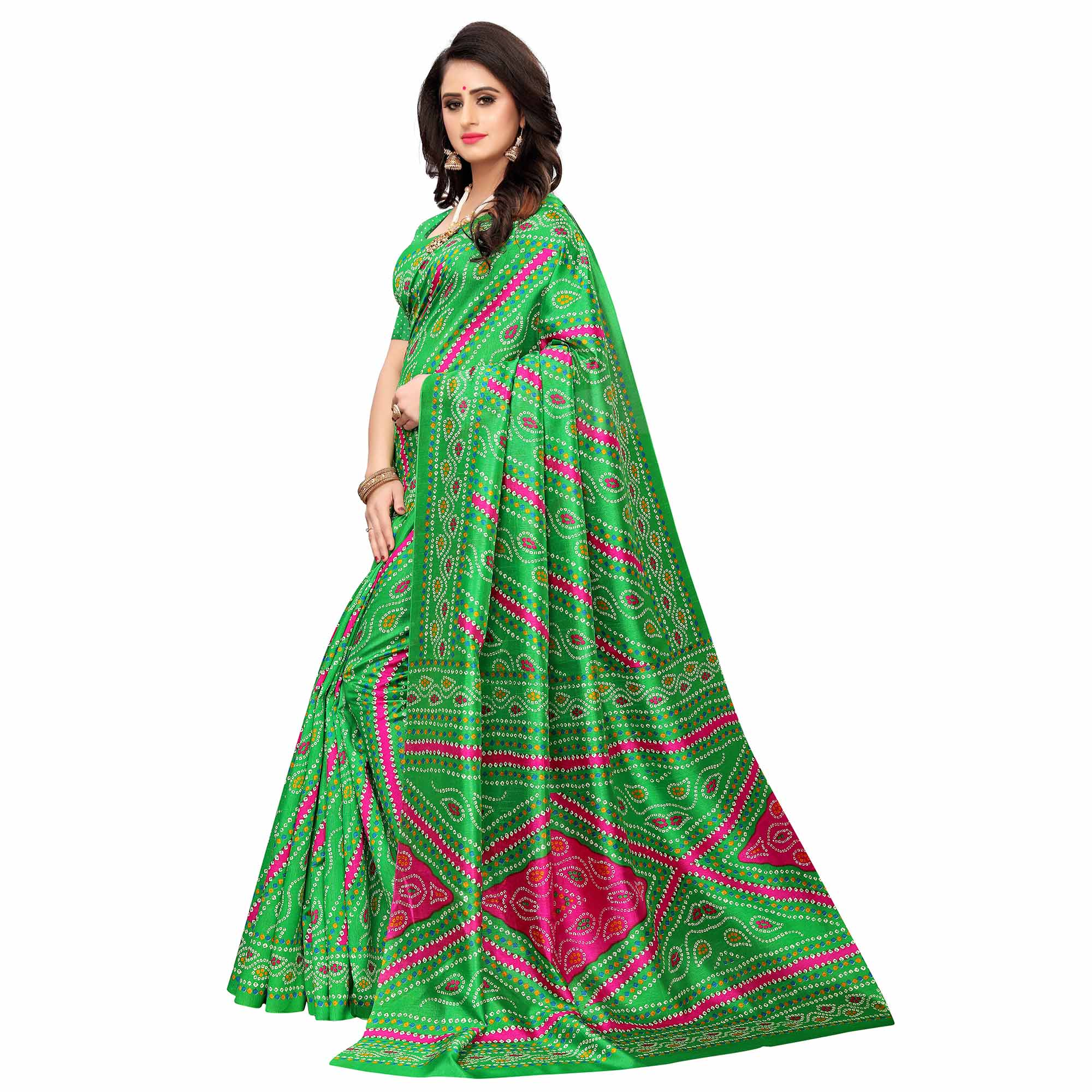 Elegant Green Colored Casual Wear Printed Zoya Silk Saree