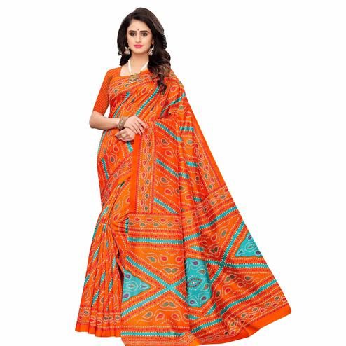Radiant Orange Colored Casual Wear Printed Zoya Silk Saree