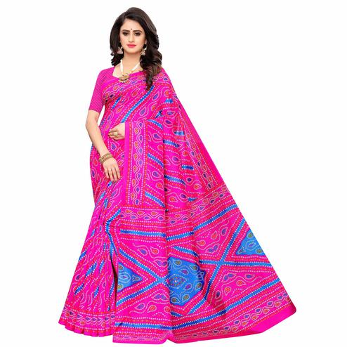 Pleasant Pink Colored Casual Wear Printed Zoya Silk Saree