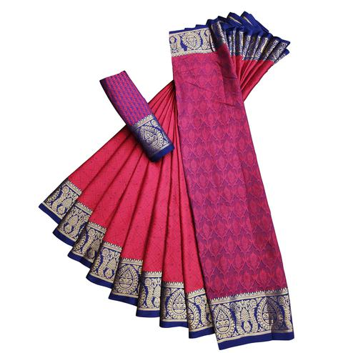 Entrancing Red Colored Casual Printed Cotton Silk Saree