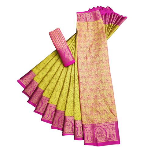 Groovy Lemon Green Colored Casual Printed Cotton Silk Saree