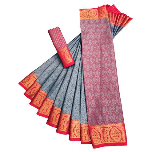Trendy Grey Colored Casual Printed Cotton Silk Saree