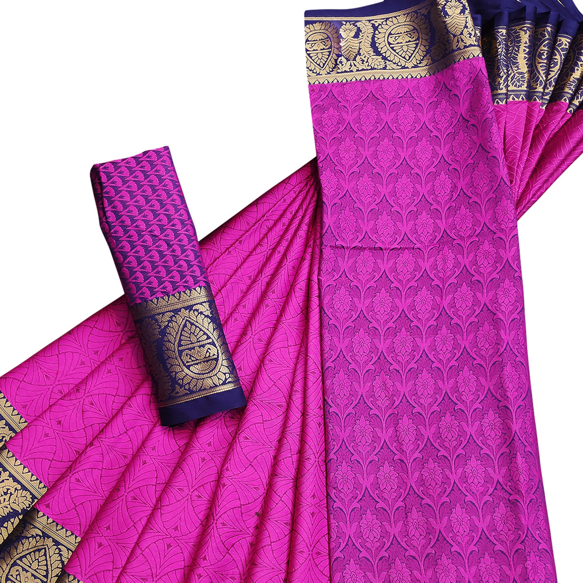 Blooming Pink Colored Casual Printed Cotton Silk Saree