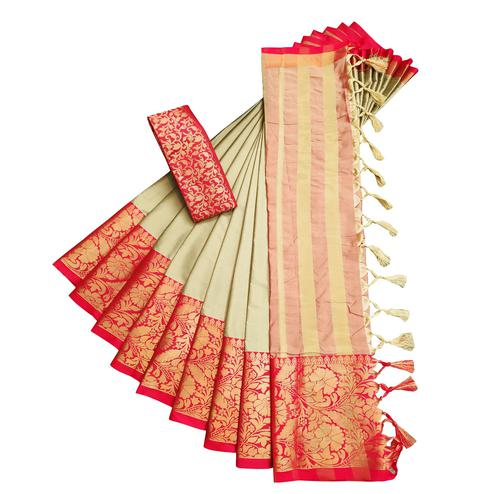 Lovely Beige-Red Colored Festive Wear Cotton Silk Saree