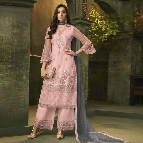 Prominent Pink Colored Party Wear Embroidered Net Palazzo Suit
