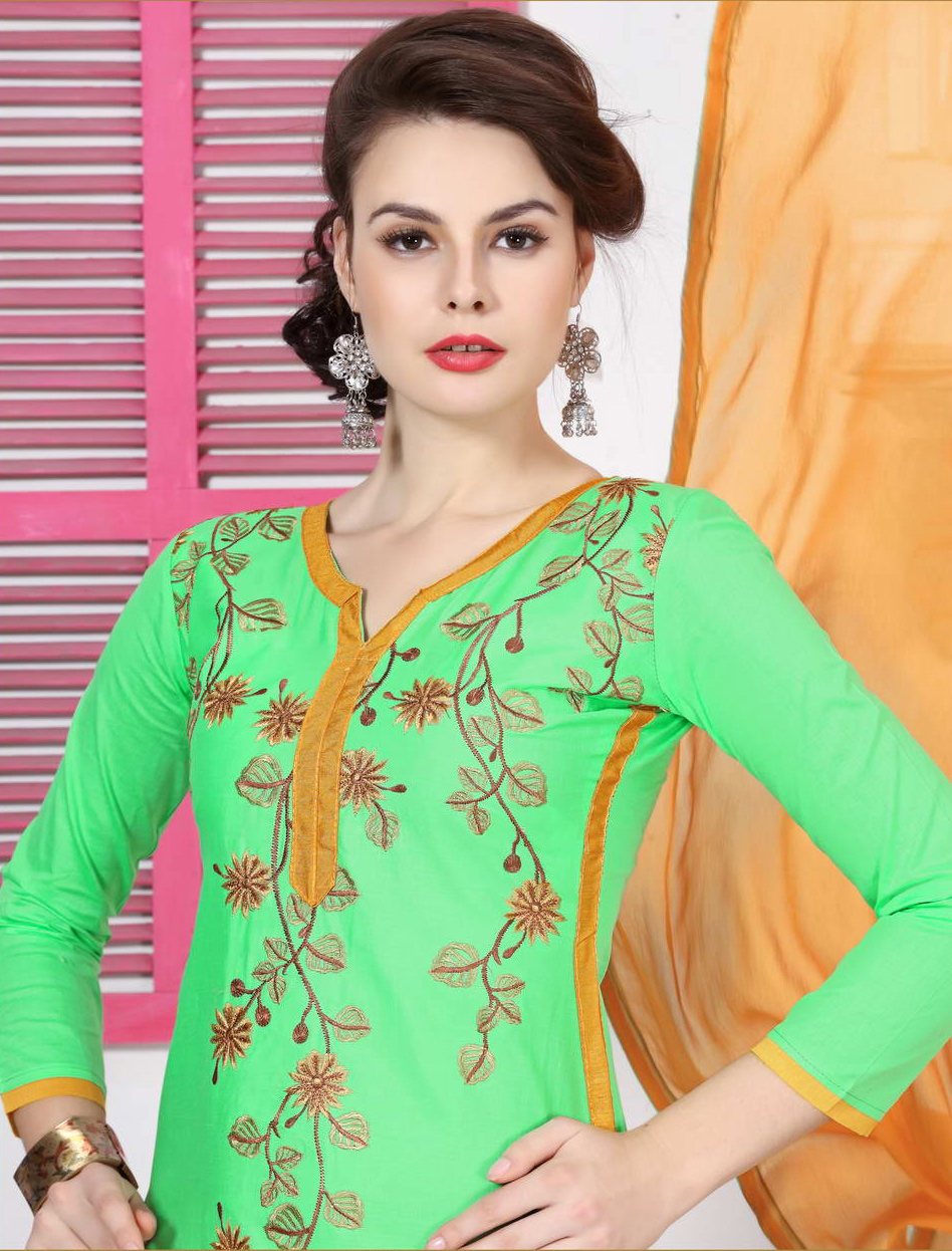 Pastel Green Cotton Salwar Suit
