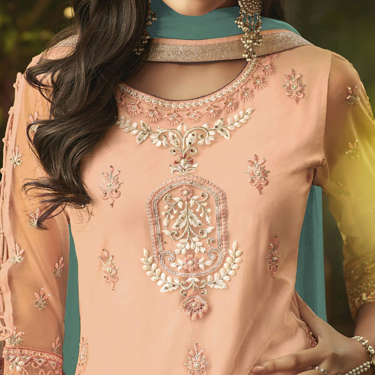 Appealing Peach Colored Party Wear Embroidered Net Palazzo Suit