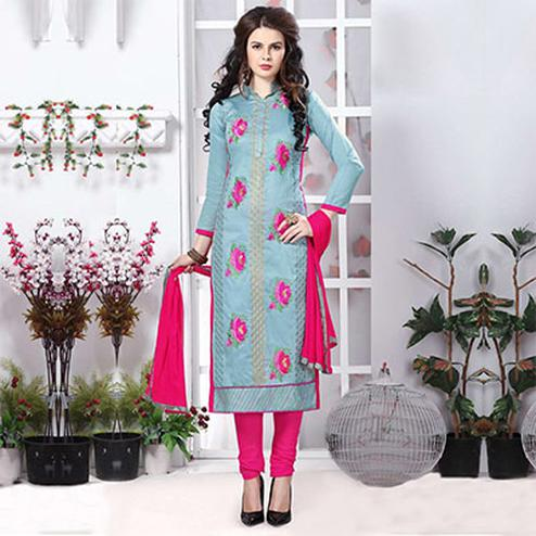 Light Blue Cotton Dress Material
