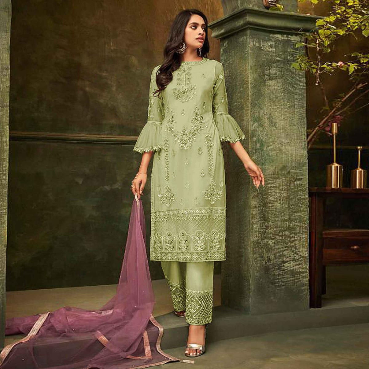 Intricate Olive Green Colored Party Wear Embroidered Net Pant Style Suit