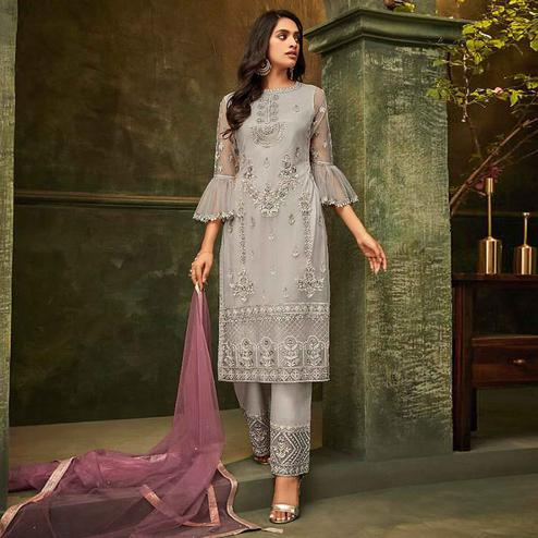 Classy Grey Colored Party Wear Embroidered Net Pant Style Suit