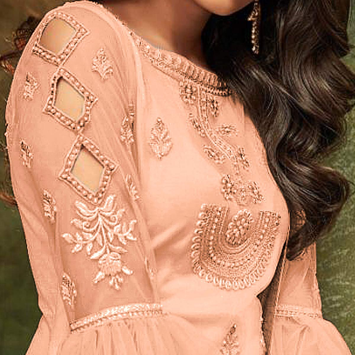 Prominent Peach Colored Party Wear Embroidered Net Pant Style Suit
