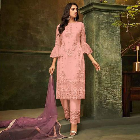 Capricious Pink Colored Party Wear Embroidered Net Pant Style Suit