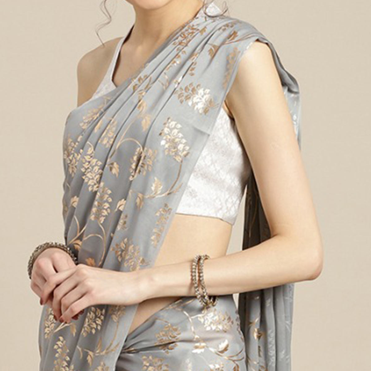 Appealing Grey Colored Partywear Foil Printed Georgette Saree