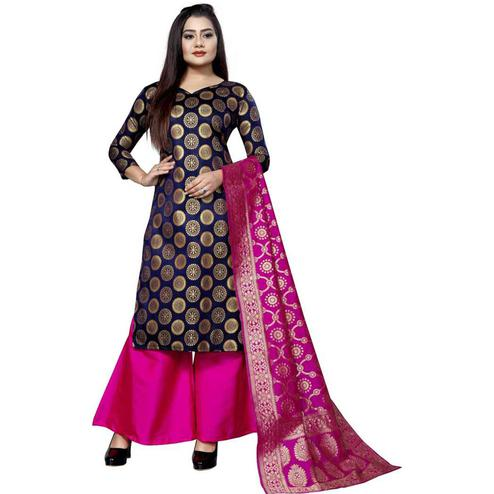 Trendy Navy Blue Colored Festive Wear Woven Jacquard Silk Dress Material