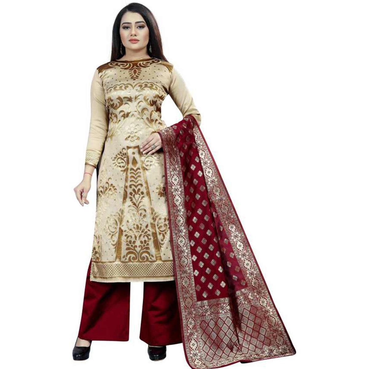 Radiant Beige Colored Casual Wear Woven Jacquard Silk Dress Material
