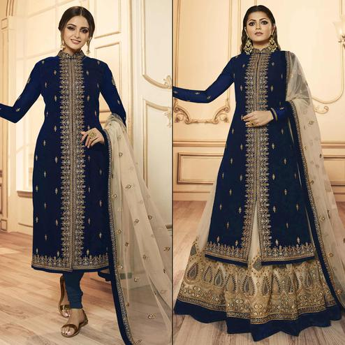 Refreshing Navy Blue Colored Party Wear Embroidered Georgette-Satin Lehenga Kameez