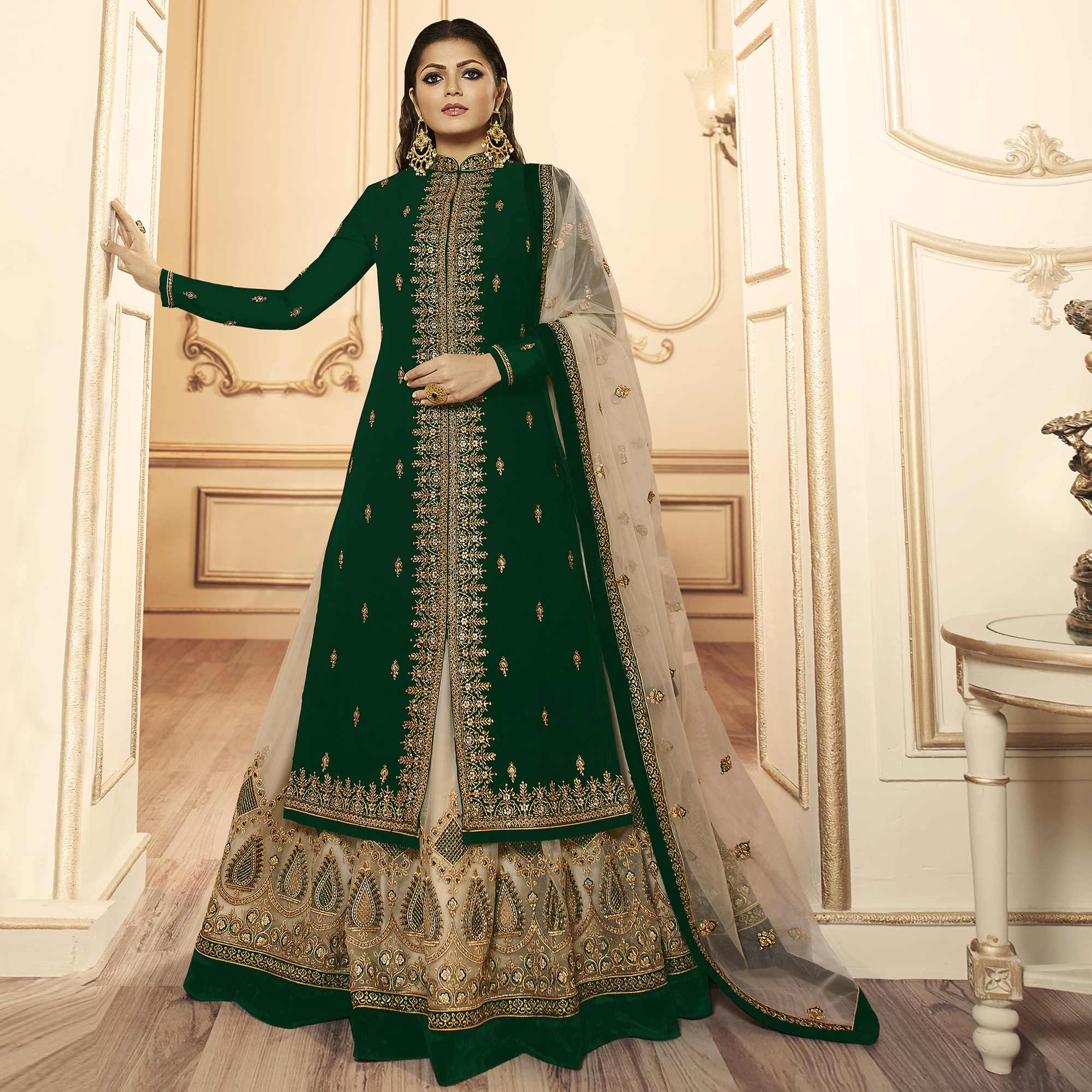 Magnetic Dark Green Colored Party Wear Embroidered Georgette-Satin Lehenga Kameez