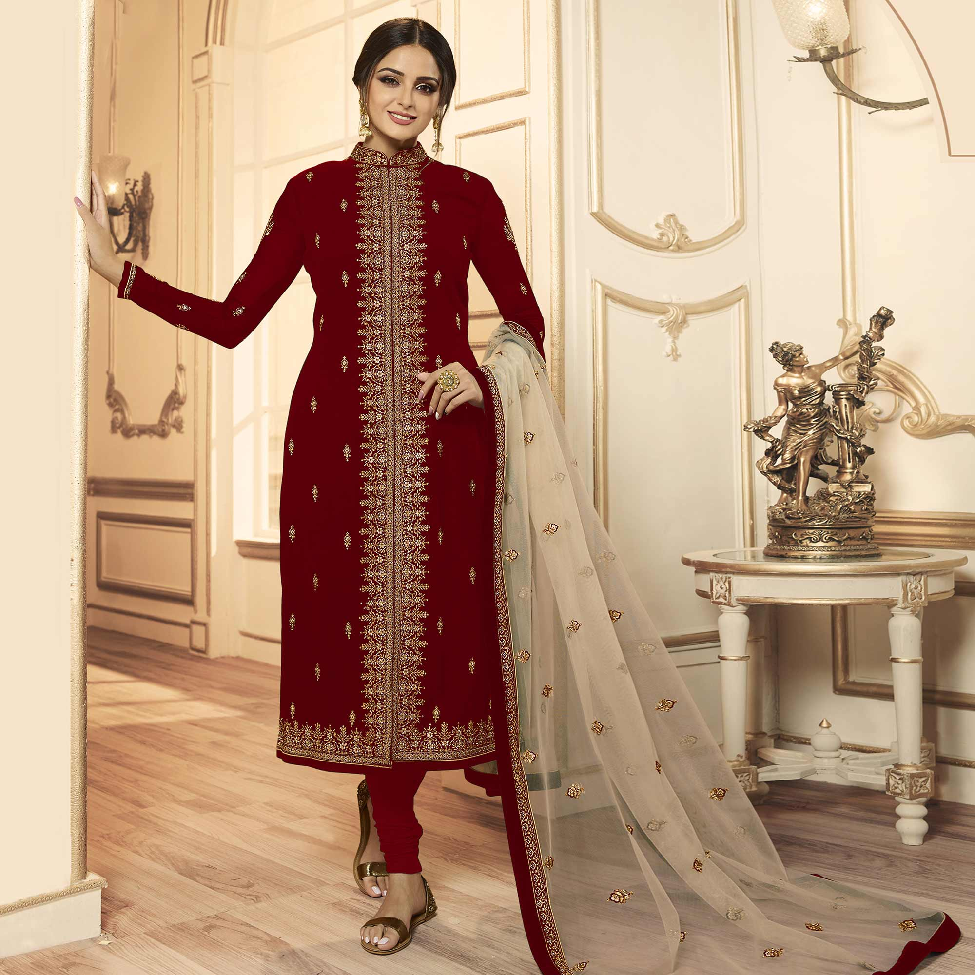 Hypnotic Maroon Colored Party Wear Embroidered Georgette-Satin Lehenga Kameez