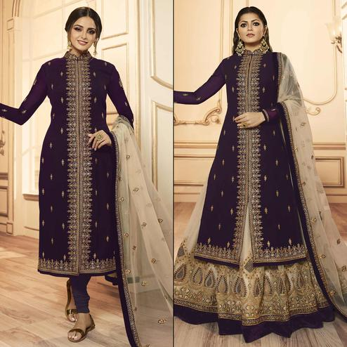 Flattering Dark Purple Colored Party Wear Embroidered Georgette-Satin Lehenga Kameez