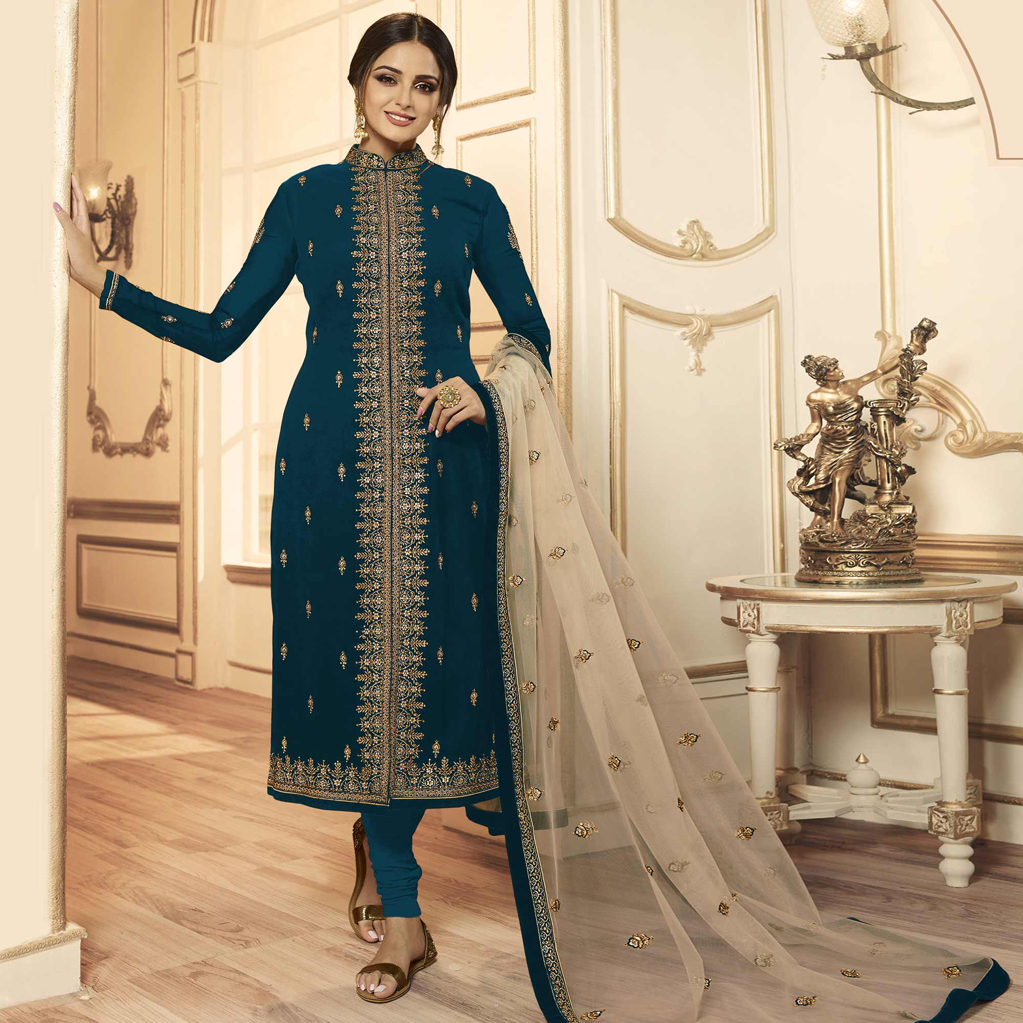 Excellent Rama Blue Colored Party Wear Embroidered Georgette-Satin Lehenga Kameez