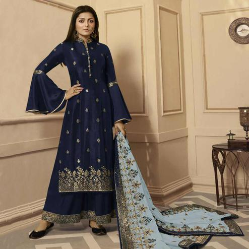Prominent Navy Blue Colored Partywear Embroidered Georgette Satin Palazzo Suit