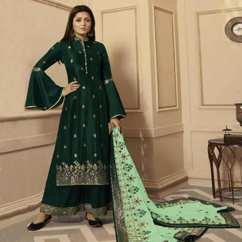 Arresting Dark Green Colored Partywear Embroidered Georgette Satin Palazzo Suit