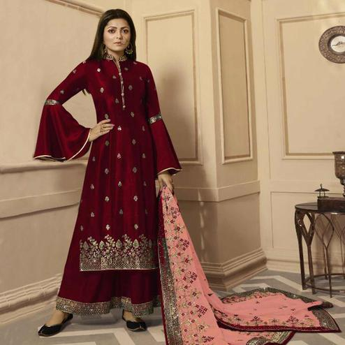 Glorious Maroon Colored Partywear Embroidered Georgette Satin Palazzo Suit