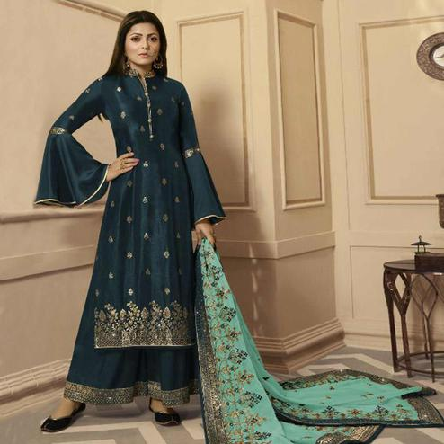 Sophisticated Teal Blue Colored Partywear Embroidered Georgette Satin Palazzo Suit