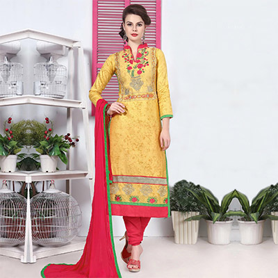 Mustard Yellow Cotton Dress Material