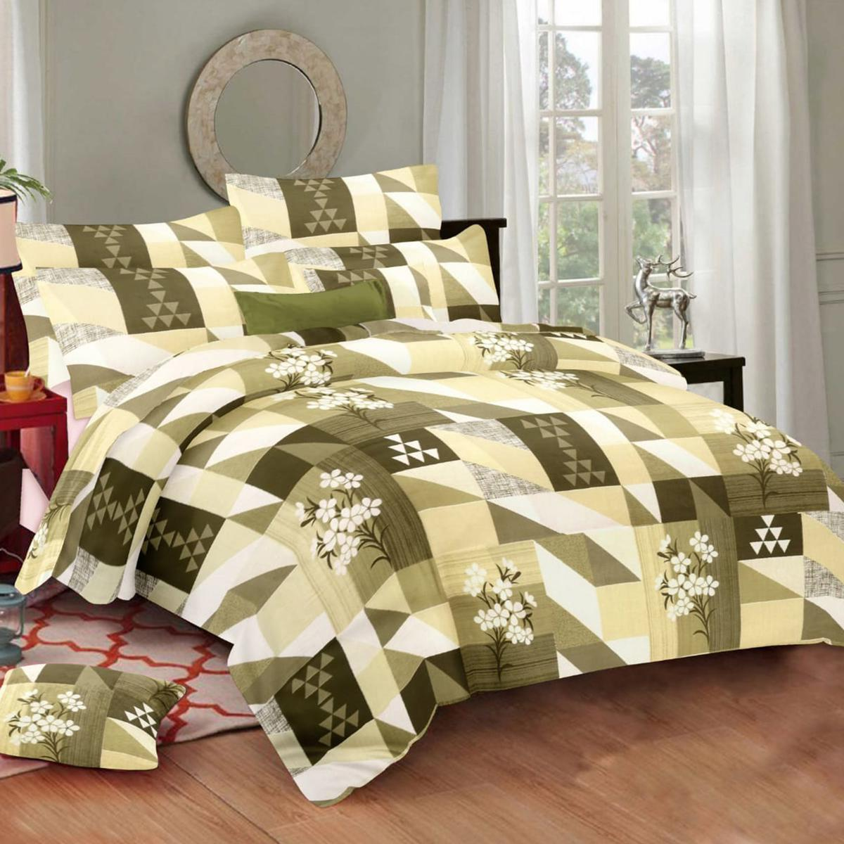 Charming Olive Green Colored Geometric Printed Cotton Double Bedsheet With Pillow Cover