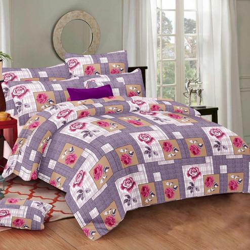 Innovative Purple Colored Floral Printed Cotton Double Bedsheet With Pillow Cover