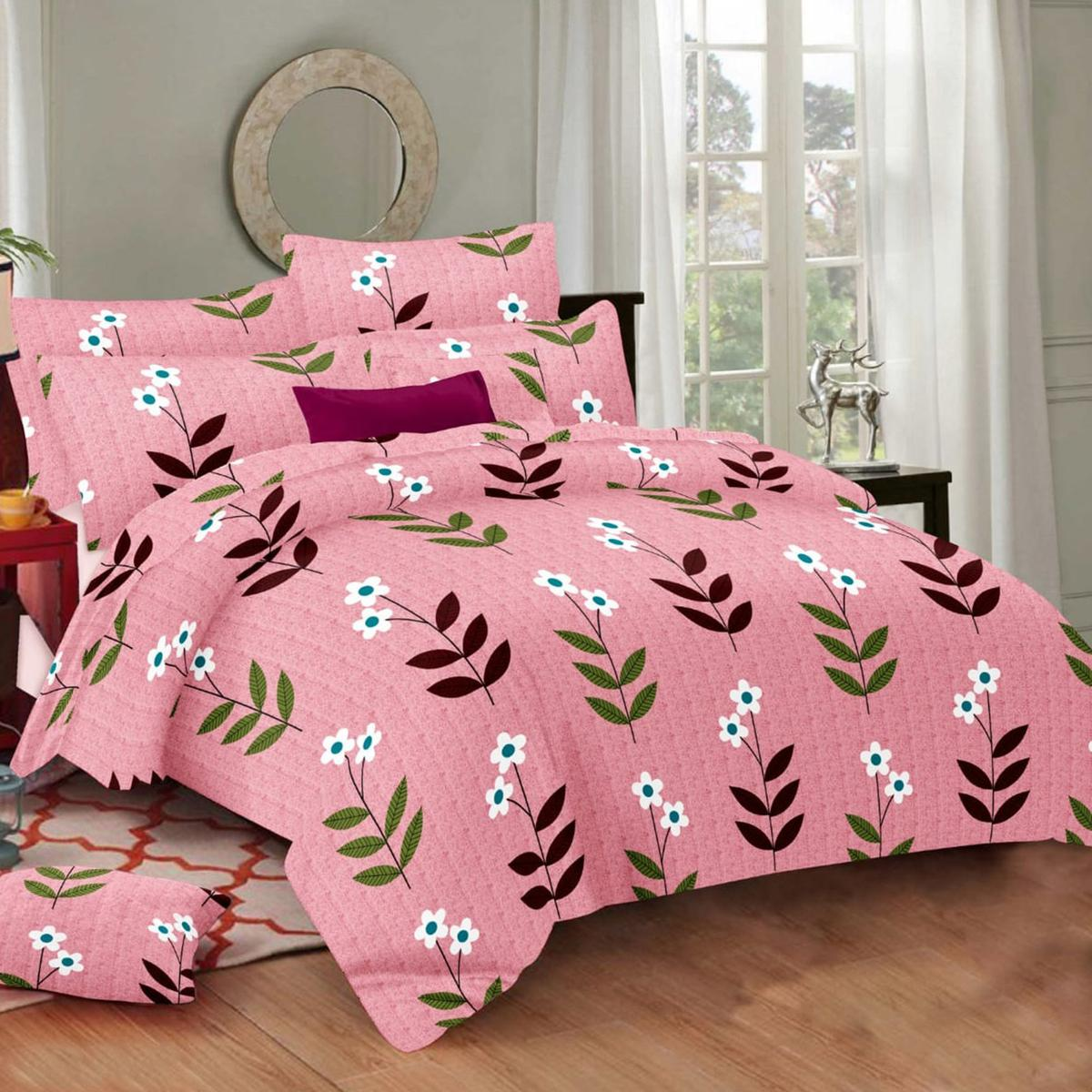 Eye-catching Pink Colored Floral Printed Cotton Double Bedsheet With Pillow Cover