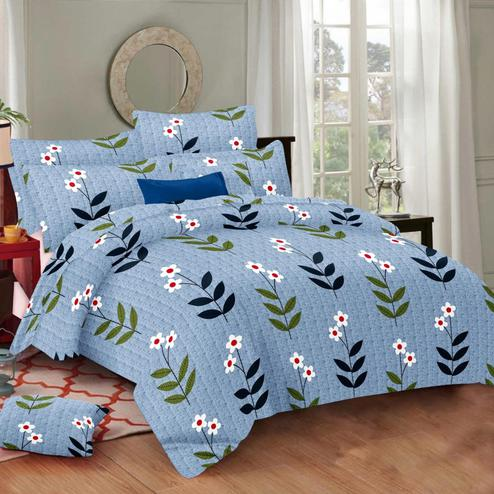 Gorgeous Blue Colored Floral Printed Cotton Double Bedsheet With Pillow Cover