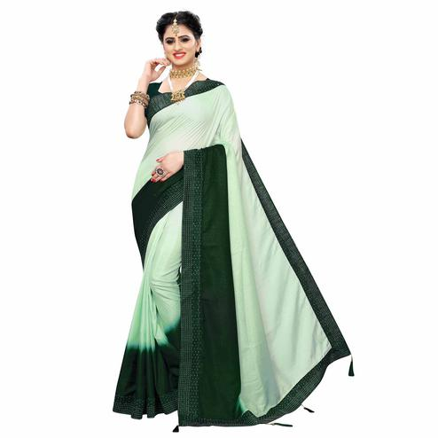 Pretty Green Colored Partywear Stone Work Sana Silk Saree