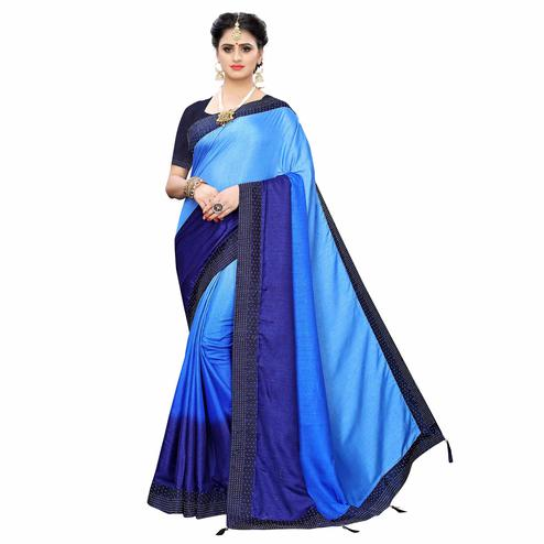Flamboyant Navy Blue Colored Partywear Stone Work Sana Silk Saree