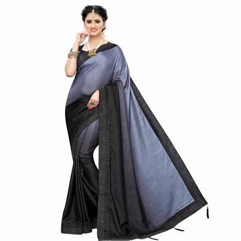 Marvellous Black Colored Partywear Stone Work Sana Silk Saree