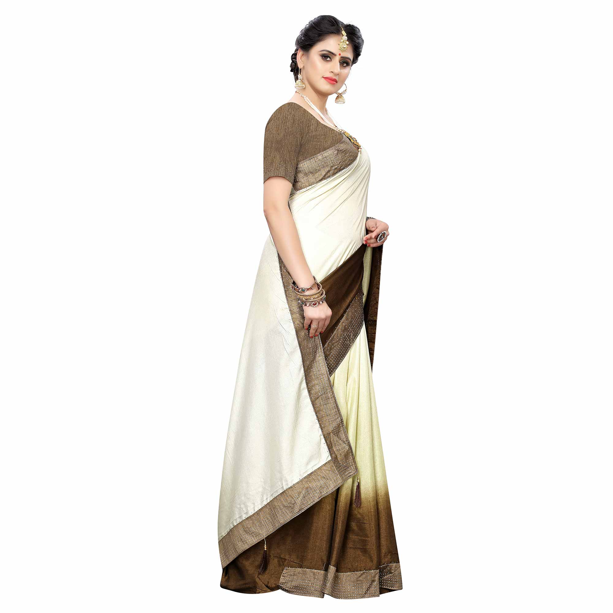 Preferable Cream Colored Partywear Stone Work Sana Silk Saree