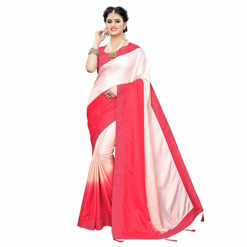 Excellent Pink Colored Partywear Stone Work Sana Silk Saree