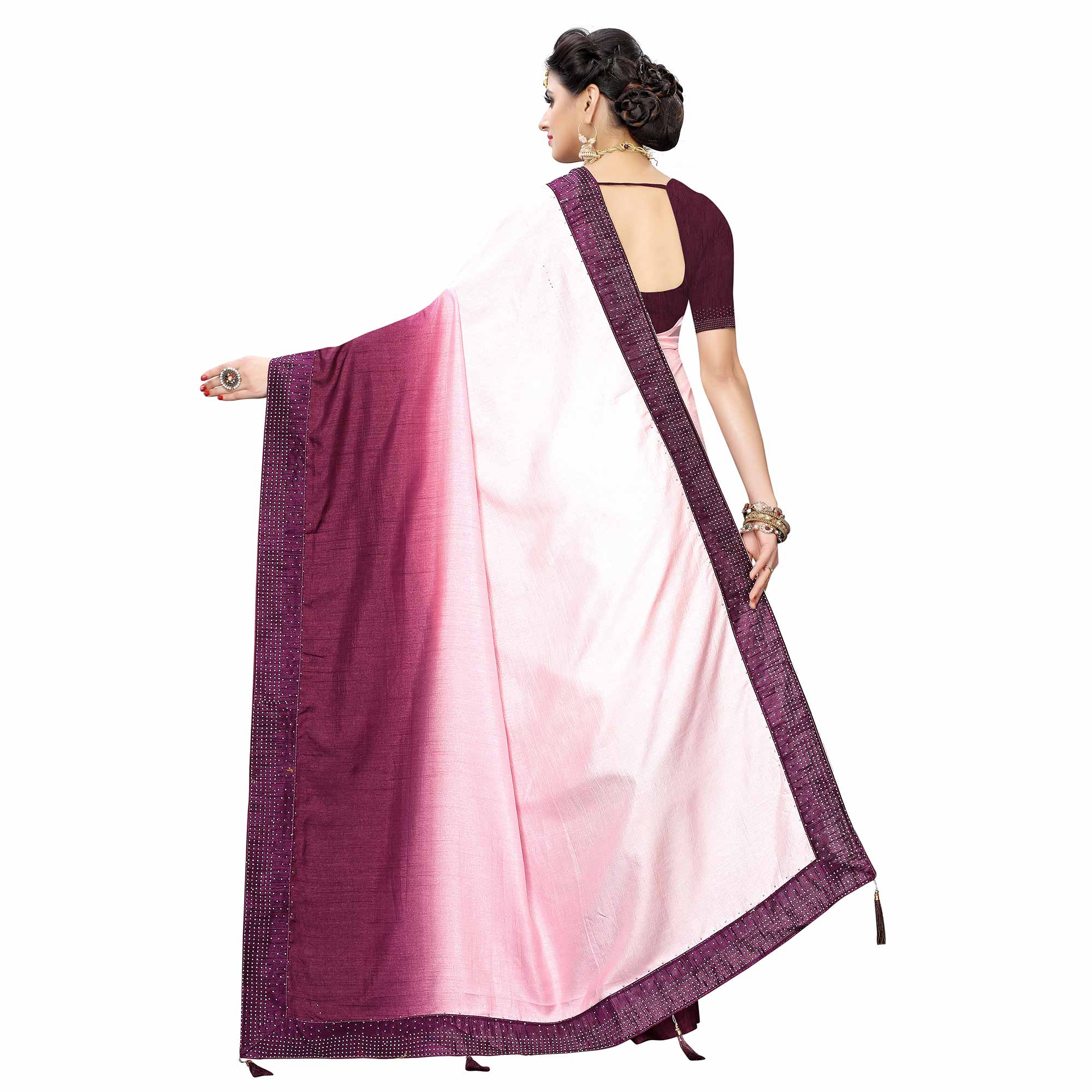 Classy Purple Colored Partywear Stone Work Sana Silk Saree