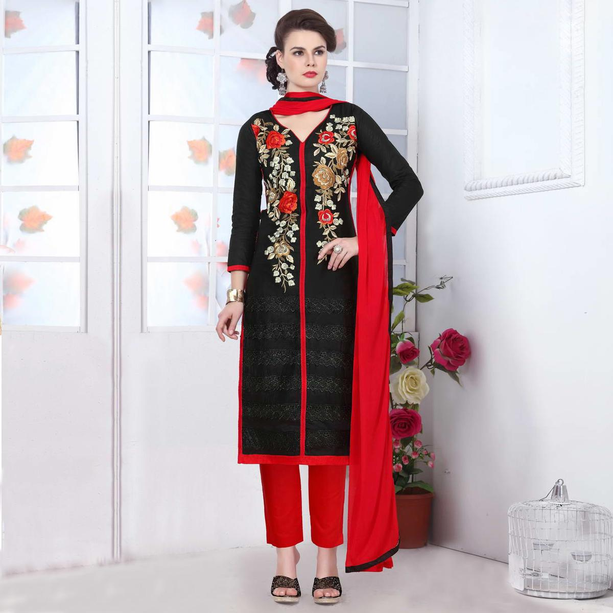 Black Embroidered Work Cotton Suit