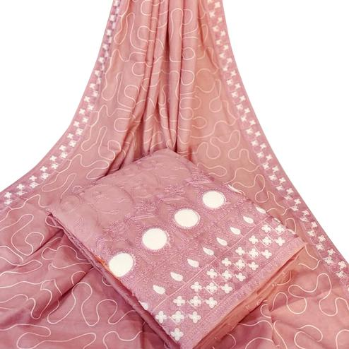 Intricate Pink Colored Party Wear Embroidered Chanderi Silk Dress Material