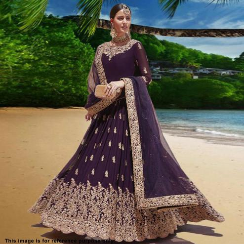 Prominent Purple Colored Partywear Embroidered Georgette Anarkali Suit